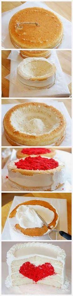Oggi, una semplice idea per stupire a San Valentino con la farcitura della propria torta...A FORMA DI CUORE....per tante DOLCI EMOZIONI ...in coppia, buona giornata!!