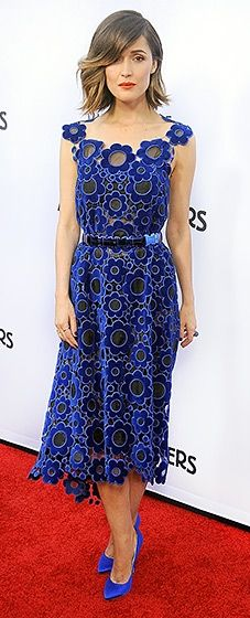 The actress hit the red carpet in a blue Christopher Kane dress with matching pumps by Brian Atwood.