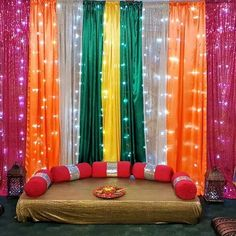 Find 22 most creative and beautiful Mehndi decor ideas. Get ideas for your mehandi day from Chic & Stylish mehndi decoration ideas which are easy to set up. Wedding Stage Decorations, Desi Wedding Decor, Backdrop Decorations, Wedding Mandap, Party Wedding, Wedding Receptions, Wedding Themes, Simple Stage Decorations, Wedding Ideas