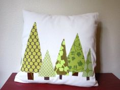 """Christmas PILLOW COVER - Christmas Trees in Green, Tall Pines  (Featured in Better Homes & Gardens and HGTV), 14"""", 16"""", 18"""""""
