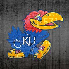 #kansas #jayhawks #basketball team retro logo license plate art.