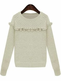 White Long Sleeve Ruffle Knit Sweater US$31.15