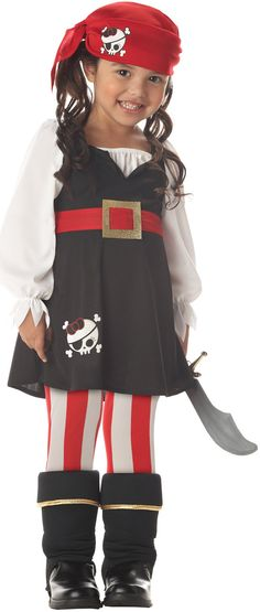 For Abby with her striped black skirt, an oversized white shirt from DI and a red sash with striped tights?