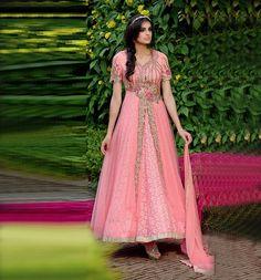 Pink Net Designer Anarkali Suit 59441
