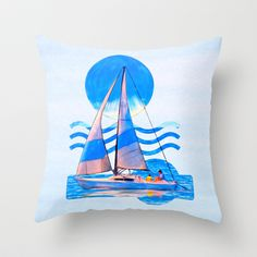 Smooth Sailing Ahead Throw Pillow by Mark E Tisdale - $20.00 - fun graphic sailboat decor - gifts for sailors and other nautical enthusiasts
