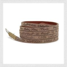 WRAP AROUND LEATHER BRACELETS ✌Beautiful and hip wrap around pure leather bracelet! Sold individually. It is the perfect piece to accessorize your outfit w/ easy-to-wear belt loop enclosure. These bracelets are simple, elegant, inspirational pieces with a touch of delicate craftsmanship and powerful, uplifting messages. ALL neutral colors (matte and gunmetal) available. $ is firm, NO trades, No PP. Good Works Jewelry