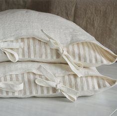 Linen sheets and pillow shams - soft linen sheet set, white linen - stone washed linen bedding - Full Queen King linen sheet set Beige Bed Linen, Linen Duvet, Linen Sheets, Linen Pillows, Linen Fabric, Bed Pillows, Bed Sheets, Bed Linens, Cushions