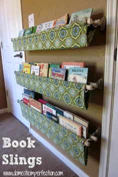 I think these book slings are a good idea to put inside the pantry to store recipe bases and other small packets.