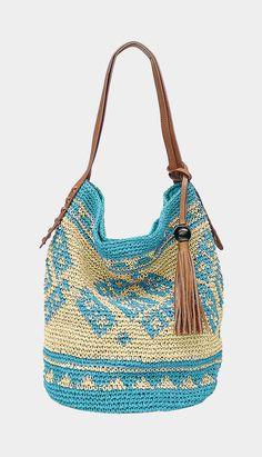 Turquoise Sierra Straw Shoulder Bag