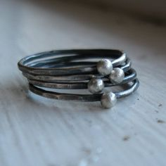This sterling silver stacking ring set is rustic and reminiscent of vintage. Its the oxidation and subsequent brushing that makes them so appealing. The