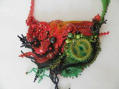 Handmade beaded necklacefree Shipping by fripperyart on Etsy