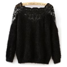 Black Winter Plain Pullovers Loose Scoop Neck Knit Lace Stylish Long Sleeve Knitwear, one-size Plain Black Sleeve Length: Long Sleeve Knit Decoration: Lace.