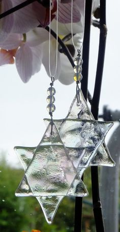 Star  hanging ornaments iridescent glass and by GeckoGlassDesign, $38.00