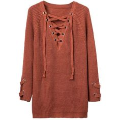 Orange Plunge Neck Lace Up Front Long Sleeve Knit Dress ($50) ❤ liked on Polyvore featuring dresses, laced dress, long sleeve plunging neckline dress, lace up dress, plunge-neck dresses and longsleeve dress