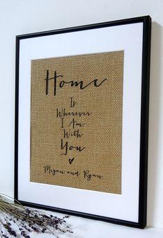 Personalized Burlap Love Housewarming Gift by BurlapArtByElizabeth, $20.00