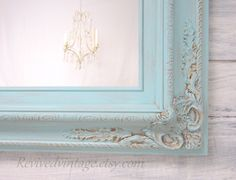 """FRENCH COUNTRY MIRROR For Sale Home Decor Baroque Mirror 31""""x27"""" Teal Blue Seafoam Blue Unique Ornate Shabby Chick Framed Vanity Mirror by RevivedVintage on Etsy https://www.etsy.com/listing/109724453/french-country-mirror-for-sale-home"""