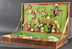 "The regular size set of the ""Humpty Dumpty"" Circus"", by ""The Schoenhut Co. Includes the original wood box. Victorian Toys, Vintage Circus Posters, Marionette, Circus Art, Humpty Dumpty, Antique Toys, Old Toys, Vintage Dolls, Vintage Children"