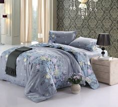 Vaulia Lightweight Duvet Cover Sets, Floral Print Pattern Design, Queen Size #Vaulia