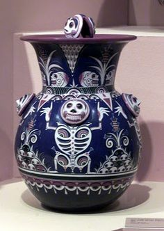 Vase by mexican ceramic artist Jorge Wilmot. Love the skeleton motif.