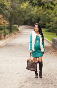 cute & little blog | petite fashion | maternity baby bump pregnant | white fur vest, michael stars maternity tunic, brown over the knee otk boots | second trimester 26 weeks