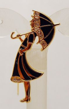 vintage umbrella girl brooch pin; I LOVE this! <3