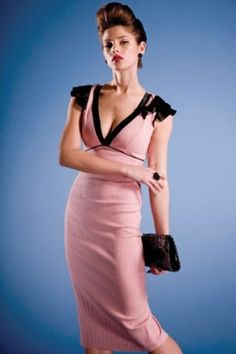Stop Staring! - 40s Vogue Glamour Blush Dress Pink