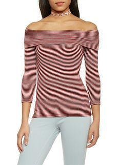 Striped 3/4 Sleeve Off The Shoulder Top,BURGUNDY  WHITE