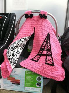 Crochet car seat cover Paris theme