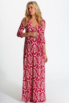 Fuchsia-Beige-Damask-PrintDraped-3/4-Sleeve-Maternity-Maxi-Dress #pinkmaxi #damaskprint #cutematernityclothes