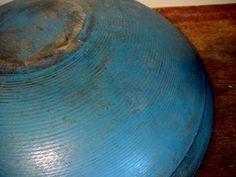 primitive Dough Bowls | Antique Primitive Furniture & Utility / Blue painted wooden dough bowl