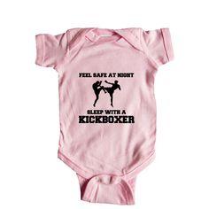 Feel Safe At Night Sleep With A Kickboxer Black Belt Sporty Fighting Self Defense Karate Taekwondo Martial Arts SGAL7 Baby Onesie / Tee