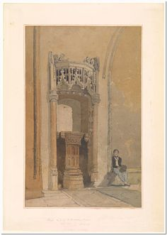 John Sell Cotman (1782-1842) East End of the Bauchon Chapel, Norwich Cathedral 1807-1808 Brown and gray wash, watercolor and gum arabic, over pencil, on two sheets of oatmeal paper.
