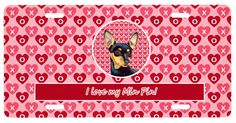 Carolines Treasures  LH9155LP Min Pin Valentine's Love and Hearts License Plate in Collectibles, Animals, Dogs, Miniature Pinscher | eBay