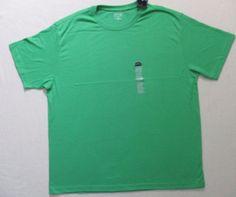 St John's Bay Men T Shirt XL Green Solid Crew Short Sleeves Cotton 17102 #StJohnsBay #BasicTee