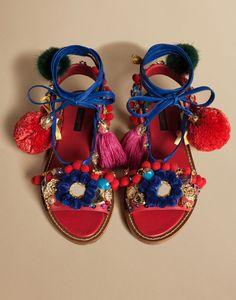 Dolce & gabbana decorative flat sandal in napa leather with pompoms, sandal women | dg online store, d&g