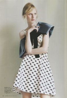"""miu miu shawl, top, and skirt with louis vuitton ring (on julia nobis by luke irons in """"sweet child of mine"""" for harper's bazaar australia may 2012)"""