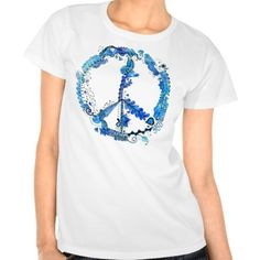 Illustrated Zentangle Peace Sign with watercolors Tee Shirts