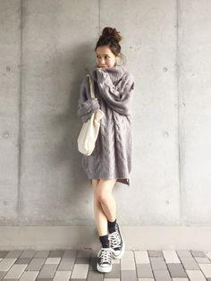 yurieさんのニット/セーター「Ungrid 【Casual】タートルケーブルルーズニット」を使ったコーディネート