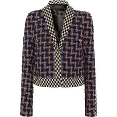 HAIDER ACKERMANN   Cropped wool-blend bouclé-tweed and jacquard jacket (62.215 RUB) ❤ liked on Polyvore featuring outerwear, jackets, haider ackermann jacket, boucle jacket, black white jacket, black and white cropped jacket and black and white tweed jacket