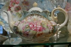 RS Prussia Teapot, Embossed Star Mark, Pink Flowers Hand Painted, Art Nouveau.