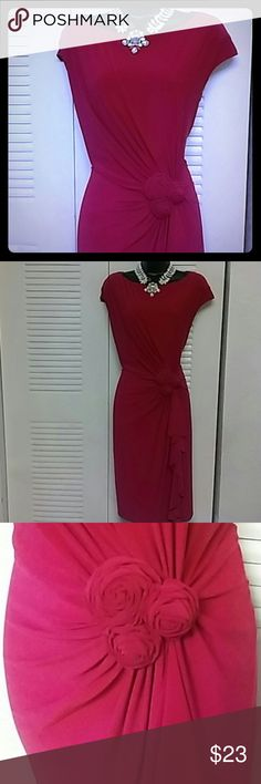 Pink dress by Evan Picone Plus size fashion! Beautiful Fuschia pink dress with cap sleeves features drape skirt with 3 roses. Zippers in back. Fully lined polyester and spandex blend provides stretch fit Evan Picone Dresses