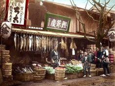 THE FISH MONGERS SHOP -- A Common Sight on the City Streets of Old Japan by Okinawa Soba, via Flickr. ca.1890s large-format, hand-tinted Salt Print.