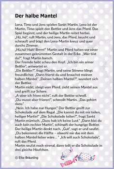Half the coat * Elke& children& stories - Elke Braunling. Half the coat. Lena, Timo and Jens find out how sharing is when you play the Martin - Hl Martin, Learn German, Storytelling, Learning, Mantel, Elke Bräunling, Martini, Children Stories, Ursula