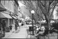 walkable street - seating, trees for shade, signage for the pedestrian . . .