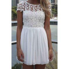 Elegant Jewel Neck Short Sleeve Lace Splicing Backless Chiffon Dress For Women, WHITE, S in Chiffon Dresses | DressLily.com