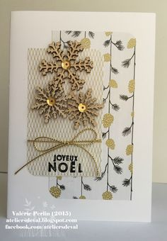 handmade Chirstmas card from The Val Workshops . love the white with metallic gold and black . snowflakes and patterned papers . Stampin' Up! Homemade Christmas Cards, Stampin Up Christmas, Christmas Greetings, Christmas Crafts, Xmas Cards, Diy Cards, Workshop, Winter Cards, Greeting Cards Handmade