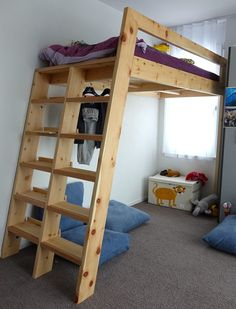 Loft Beds With Bookshelf Ladders: 14 Steps (with Pictures) Build A Loft Bed, Loft Bed Plans, Pallet Loft Bed, Bunk Beds With Stairs, Kids Bunk Beds, Loft Bunk Beds, Ladder Bookshelf, Bunk Bed Ladder, Diy Bett