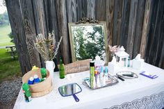 Ideas for Summer Weddings Reception Ideas: Having an outdoor reception? Place a primping station near the porta potties!Reception Ideas: Having an outdoor reception? Place a primping station near the porta potties! Outside Wedding, Wedding Reception, Rustic Wedding, Our Wedding, Dream Wedding, Reception Ideas, Wedding Stuff, Wedding Aisles, Tent Reception