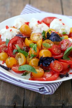 about 2 pounds (1 kg) ripe tomatoes, different colors and sizes, coarse salt & pepper, dried herbs, such as oregano,2 tablespoon red wine vinegar, 6 tablespoons olive oil, 1 garlic clove, 1 red chili, 2 balls fresh mozzarella, fresh green and red basil to serve