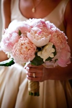 Pink Peonies and Ranunculus with Gardenia accent wedding bouquet - Wedding Diary